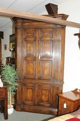 XL Tudor Jacobean Corner Cabinet Oak Farmhouse 6