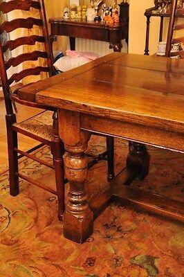 8 Rustic English Oak Ladder Back Chairs Ladderback 11