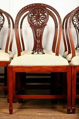 10 Mahogany Hepplewhite Dining Chairs Carved Wheel Back 11