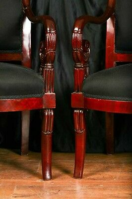 Pair Mahogany French Arm Chairs Charles X Throne 12