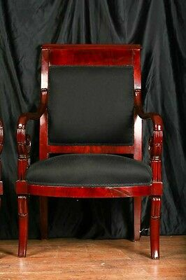 Pair Mahogany French Arm Chairs Charles X Throne 8