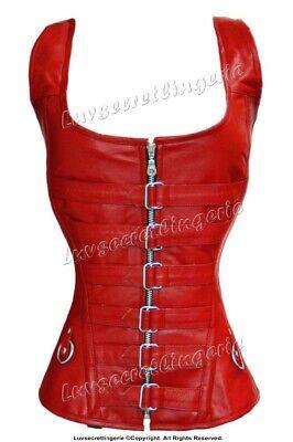Heavy Duty 24 Double Steel Boned Waist Training Leather Overbust Corset #9036-B