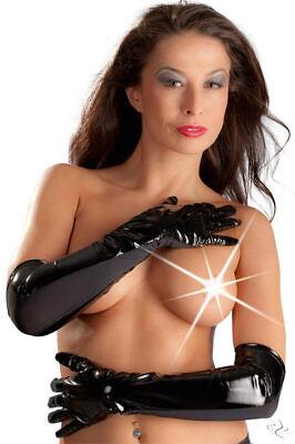 Lack Handschuhe Gr. L schwarz gloves lang dessous Fasching Karneval Halloween 2
