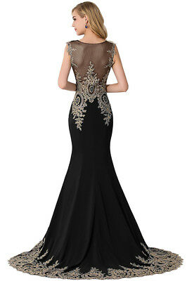Long Evening Formal Party Dress Prom Ball Gown Bridesmaid Applique New 3
