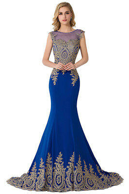 Long Evening Formal Party Dress Prom Ball Gown Bridesmaid Applique New 8