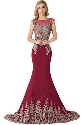 Long Evening Formal Party Dress Prom Ball Gown Bridesmaid Applique New 5