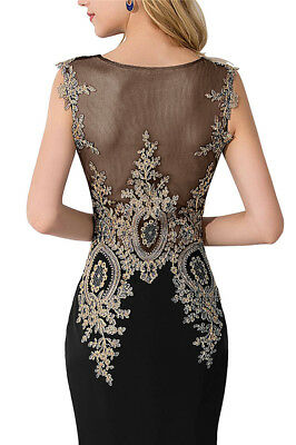 Long Evening Formal Party Dress Prom Ball Gown Bridesmaid Applique New 4