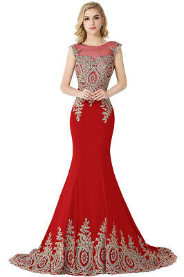 Long Evening Formal Party Dress Prom Ball Gown Bridesmaid Applique New 10