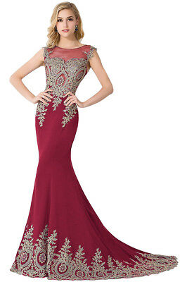 Long Evening Formal Party Dress Prom Ball Gown Bridesmaid Applique New 7