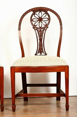 10 Mahogany Hepplewhite Dining Chairs Carved Wheel Back 10