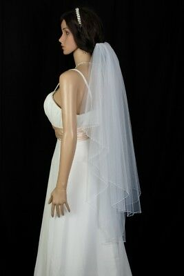 Bridal Veil Ivory 2 Tiers Fingertip Length Edge With Bicone and Seed beads 4