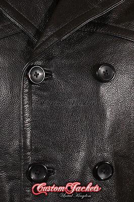 ... 7 di 12 Uomo LUNGO U-BOAT Nero Tedesca KRIEGSMARINE Giacca In Pelle Di  Mucca Cappotto 8 f5270e73087