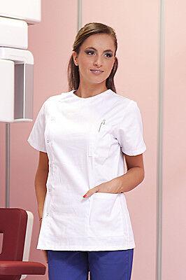Casacca Medico Donna Cotone Camice Sanitaria Estetista Infermiera Lavoro Bianca