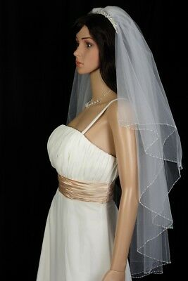 Bridal Veil Ivory 2 Tiers Fingertip Length Edge With Bicone and Seed beads 3