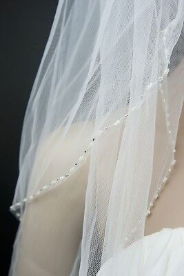 Bridal Veil Ivory 2 Tiers Fingertip Length Edge With Bicone and Seed beads 5
