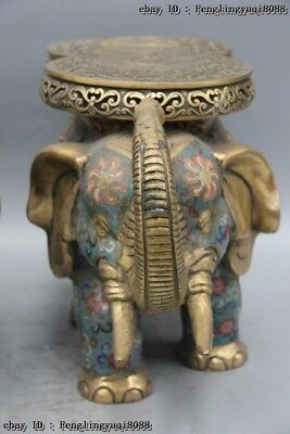 Chinese Bronze Cloisonne Enamel Eight Treasures Elephant Flower Stool Chair Pair 12