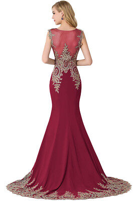 Long Evening Formal Party Dress Prom Ball Gown Bridesmaid Applique New 6