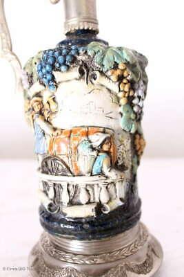 Zauberhafter italienischer Wein Krug Zinnkrug Steingut Tolle Motive und Farben 3