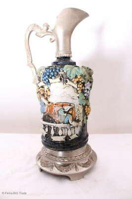 Zauberhafter italienischer Wein Krug Zinnkrug Steingut Tolle Motive und Farben 2