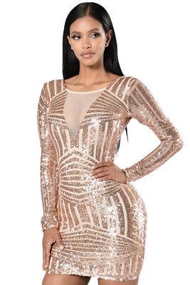 Mini abito sexy vestito corto donna elegante aderente paillettes da sera DS22867