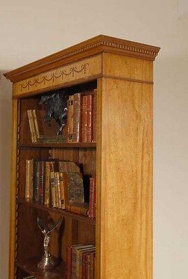 7 Ft English Regency Open Sheraton Bookcases Satinwood 10