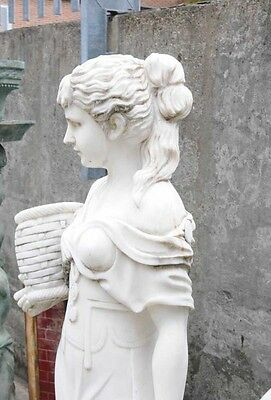 Hand Carved Italian Marble Maiden Female Statue 3