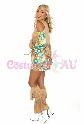 Ladies 60s 70s Retro Hippie Costume Girl Disco Dancer Groovy