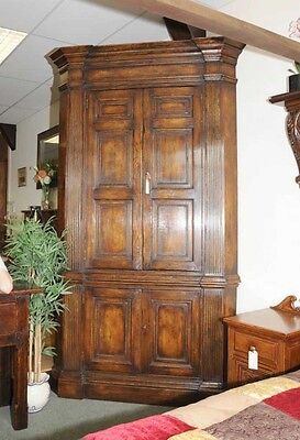 XL Tudor Jacobean Corner Cabinet Oak Farmhouse 9