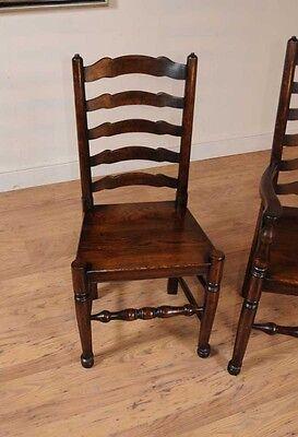 Set 8 Oak Ladderback Chairs Kitchen Dining Chair Farmhouse Furniture 6