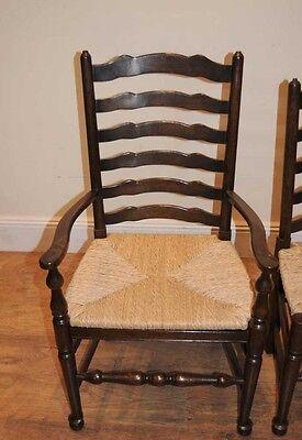 8 Solid Oak Pad Foot Ladderback Kitchen Chairs 12