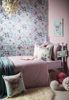 Tapete Kinderzimmer Einhorn Pegasus blau Glitter Schloss Wandtapete Mädchen edel