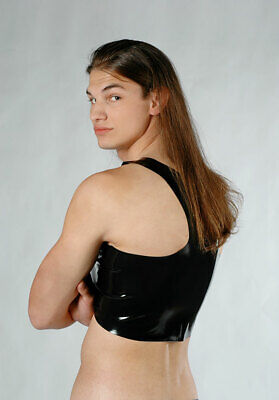 Fetish Bondage Rubber Latex Muscle T Shirt Tee 2110 Gay Gimp Catsuit Sexy 8