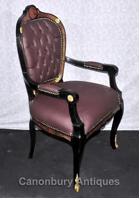Pair French Boulle Arm Chairs Louis XV Fauteil Chair 9