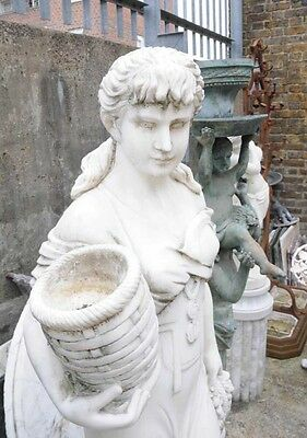 Hand Carved Italian Marble Maiden Female Statue 7