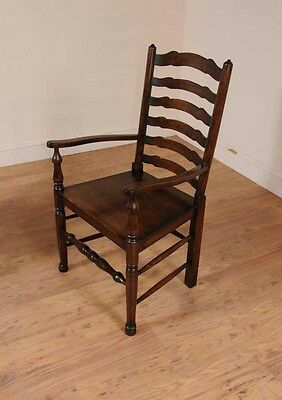 Set 8 Oak Ladderback Chairs Kitchen Dining Chair Farmhouse Furniture 7