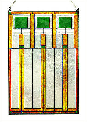 Arts and Crafts Prairie Squares Green Art Glass Panel MGV004 2