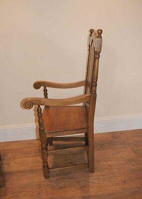 4 Oak Farmhouse William Mary Kitchen Chairs Tudor 6