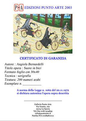 """ANGIOLA BERNARDELLI - """"Suore in bici""""  - Serigrafia cm 40x30 5"""