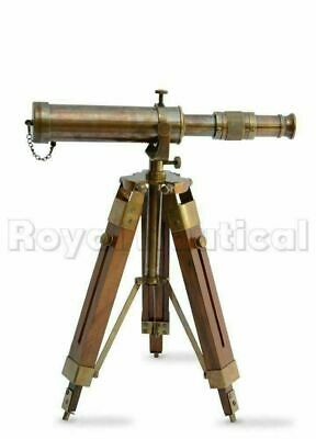 Nautical Vintage Antique Decorative Solid Brass Telescope w/ Wooden Gift Tripod 7
