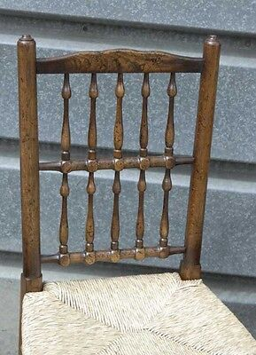 Pair Oak Spindleback Kitchen Chairs Country Farmhouse 5