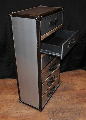 Industrial Leather Chrome Chest Drawers Tall Boy Luggage Furniture