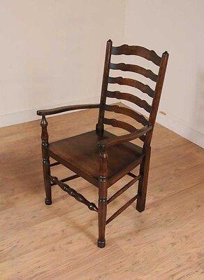 Set 8 Oak Ladderback Chairs Kitchen Dining Chair Farmhouse Furniture 5