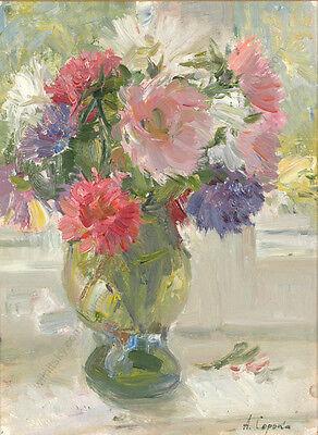 "Arkadi Soroka (b.1921), ""Still Life with Flowers"", Oil Painting, 1960s 2"
