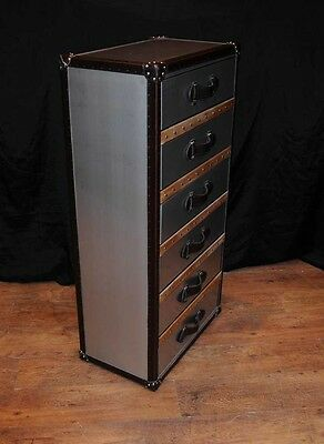 Industrial Leather Chrome Chest Drawers Tall Boy Luggage Furniture 8