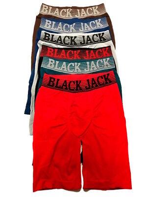 6 Mens Authentic BlackJack Boxer Briefs Breathable Long-Leg Athletic #951BJ