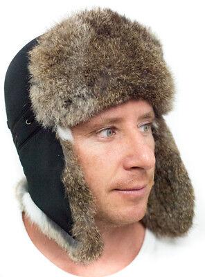 CHAPKA Homme Ouchanka Bonnet Fourrure Lapin Ski Hiver Chaud Super Chaud