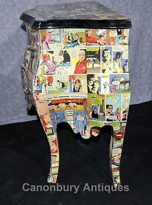 Pair Chest Drawers Comic Print Bedside Chests Tables Nightstands 11