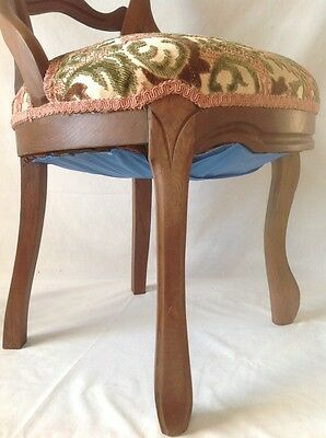 Antique Victorian Carved Balloon Back Chair Walnut w Chenille Upholstered Seat 11