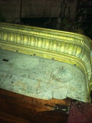 Vtg 1800's Ornate 4ft Fireplace Fender Surround Footed Egg Dart Brass 11