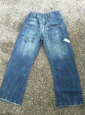 BNWTS Boys Jeans Marks & Spencer 7 Years Denim £16 Adjustable Waist Bow Leg 3